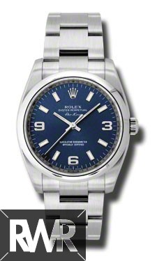 Replica Rolex Oyster Perpetual Stainless Steel Blue Dial Watch 114200-70190