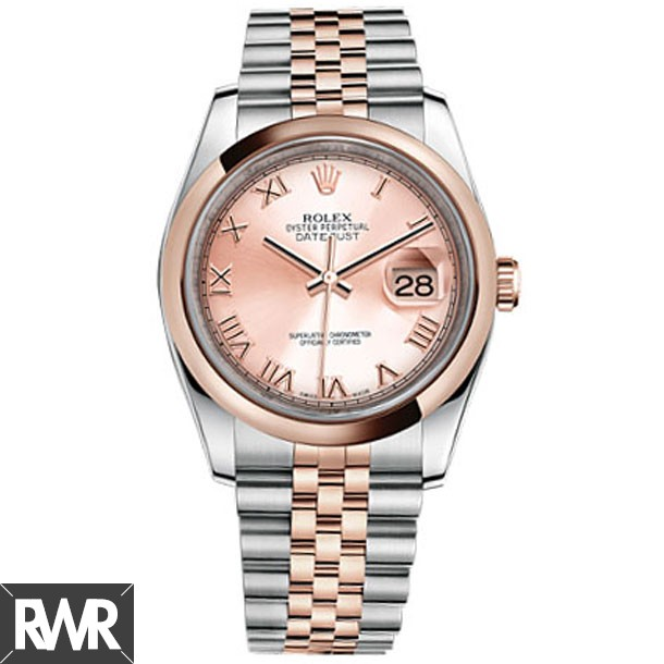 Replica Rolex Datejust Champagne Dial Stainless Steel and 18kt Pink Gold Mens Watch