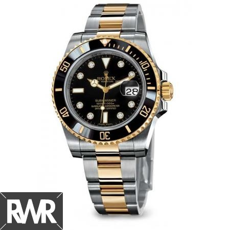 Replica Rolex Submariner Black Dial Gold/Steel Ceramic Bezel116613-LN-97203