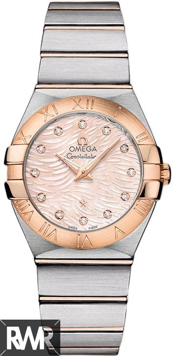 Fake Omega Constellation Quartz 27mm 123.20.27.60.57.004  Pink Diamond Pearl Watch