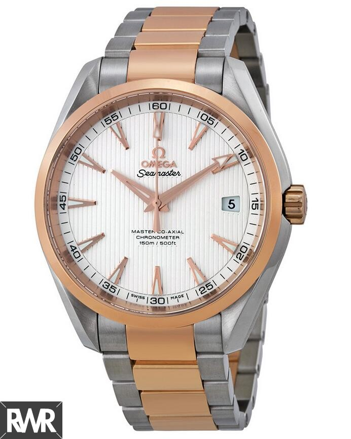 imitation Omega Aqua Terra Automatic Silver Dial Steel and 18kt Rose Gold 231.20.42.21.02.001