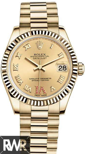 Replica Rolex Datejust 31mm 18 ct yellow gold Oyster 178278