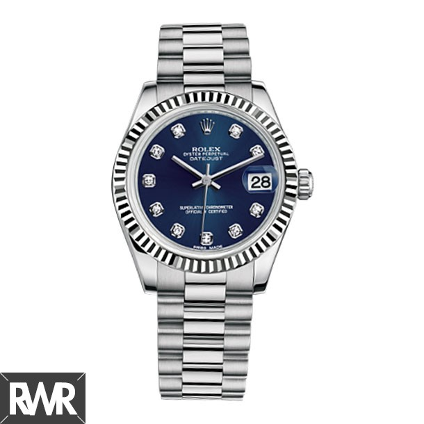Replica Rolex Datejust 31mm Ladies Watch President White Gold Fluted Bezel 178279