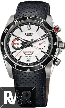 Replica Tudor Grantour Chrono Fly-Back White Dial Black Leather Men's Watch