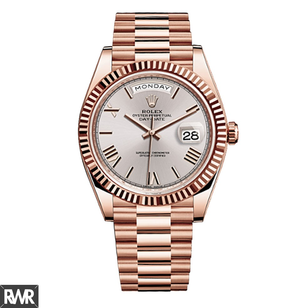 Replica Rolex Day-Date 40 Sundust Roman numerals Dial 18K Everose Gold Automatic Mens Watch