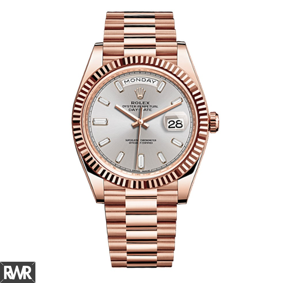 Replica Rolex Day-Date 40 Sundust Baguette Diamond Dial 18K Everose Gold Automatic