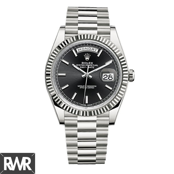 Replica Rolex Day-Date 40 Black Dial 18K White Gold Watch