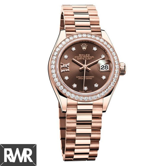 Replica Rolex Oyster Perpetual Lady-Datejust 28 Everose gold 279135 RBR–83345