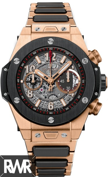 Fake Hublot Big Bang Unico King Gold Ceramic Bracelet 411.OM.1180.OM