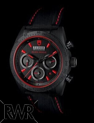 Replica Tudor Fastrider Black Shield Red Index Leather Strap 42000CR