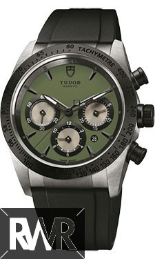 Fake Tudor Fastrider Chronograph Black Ceramic Bezel Green Rubber Strap 42010n