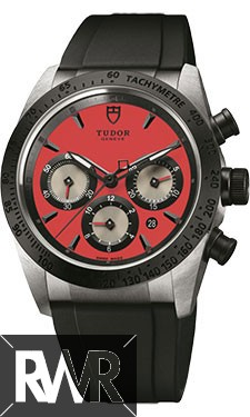 Fake Tudor Fastrider Chronograph Black Ceramic Bezel Red Rubber Strap 42010n