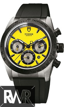 Fake Tudor Fastrider Chronograph Black Ceramic Bezel Yellow Rubber Strap 42010n