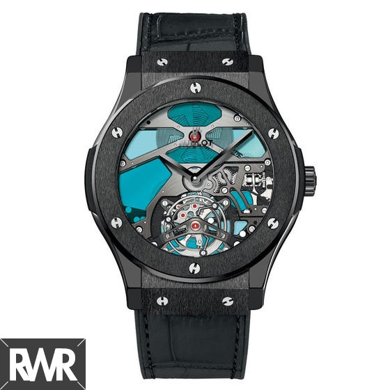 Replica Hublot Classic Fusion Tourbillon Ceramic Blue Vitrail 502.CX.0003.LR