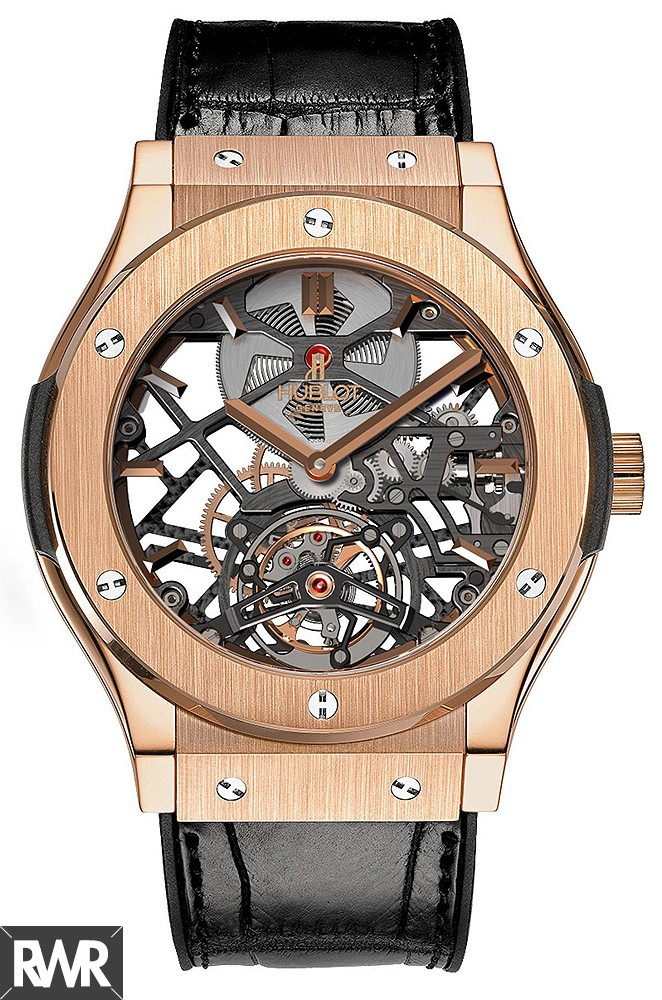 Replica Hublot Classic Fusion Skeleton Tourbillon King Gold 505.OX.0180.LR