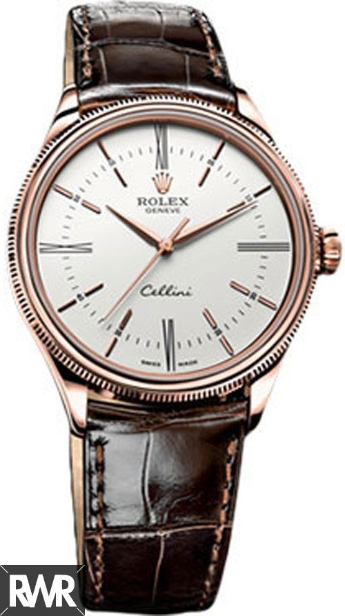 Rolex Cellini Time Everose Gold White Lacquer Dial 50505 Fake