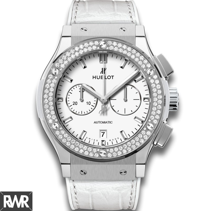Replica Hublot Classic Fusion Chronograph Titanium White Diamonds 541.NE.2010.LR.1104