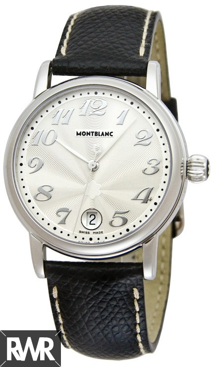 Replica Montblanc Star Large Black Calf Stainless Steel Mens Watch 7249