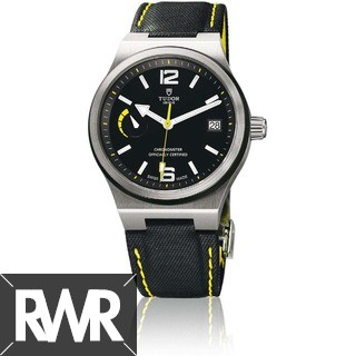 Replica Tudor North Flag Watch 91210N yellow accented black leather strap