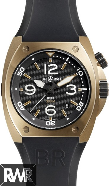 Replica Bell & Ross Marine Automatic Mens Watch BR 02-92 Rose Gold & Carbon
