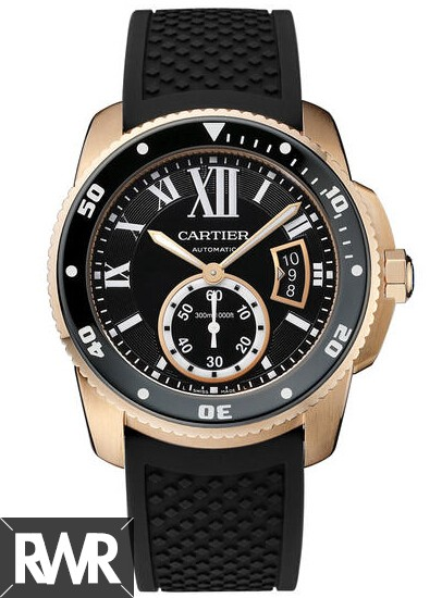 Fake Cartier Calibre de Cartier Diver 42mm Pink Gold Watch W7100052