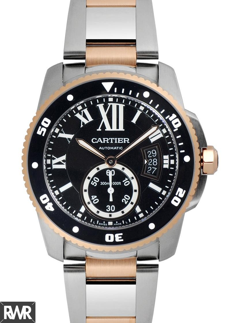 Fake Cartier Calibre de Cartier Diver 42mm Pink Gold And Steel Watch W7100054