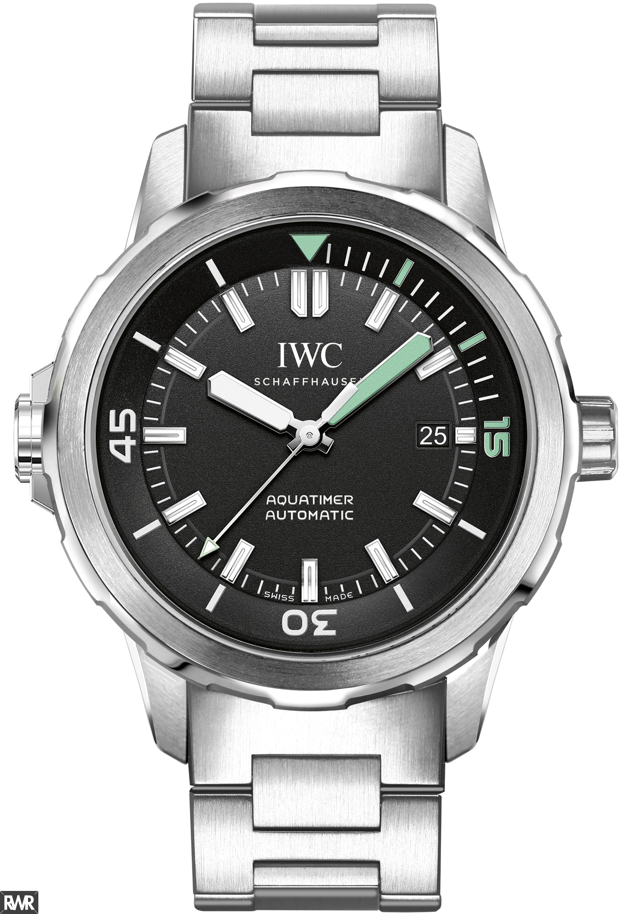 Fake IWC Aquatimer Black Dial Stainless Steel Mens Watch IW329002
