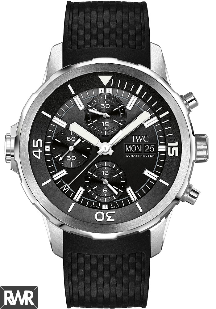 Fake IWC Aquatimer Chronograph Black Dial Black Rubber Men's Watch IW376803