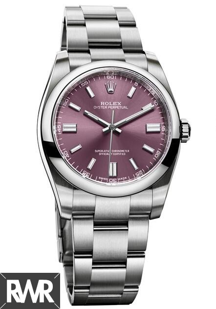 Fake Rolex Oyster Perpetual 36mm Red Grape Dial 116000–70200