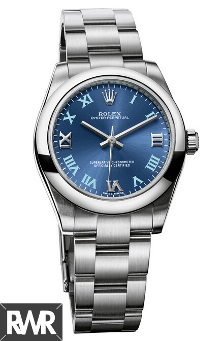 Fake Rolex Oyster Perpetual 31mm Azzuro Blue Dial 177200–70160