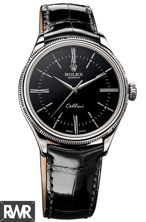 Rolex Cellini Time White Gold Black Lacquer Dial Watch 50509 Fake