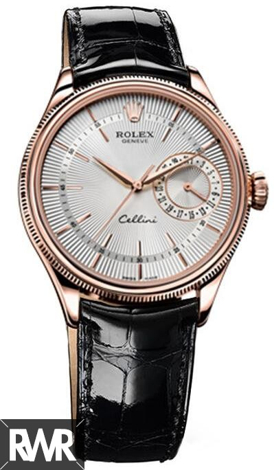 Rolex Cellini Date Everose Gold Silver Guilloche Dial Watch 50515 Fake