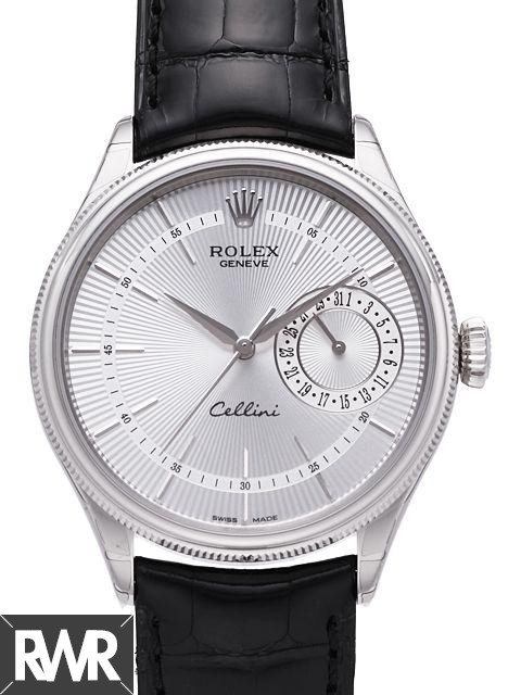 Rolex Cellini Date White Gold Silver Guilloche Dial Watch 50519 Fake