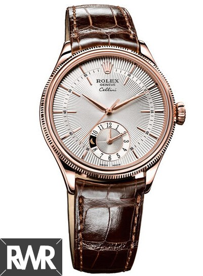 Rolex Cellini Dual Time Everose Gold Silver Guilloche Dial Watch 50525 Fake