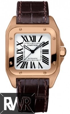 Fake Cartier Santos 100 18k Rose Gold Medium Brown Alligator Strap W20108Y1