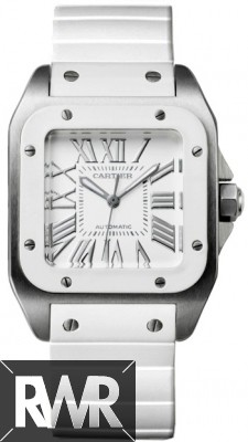 Replica Cartier Santos 100 Medium Automatic Steel & White Rubber W20129U2