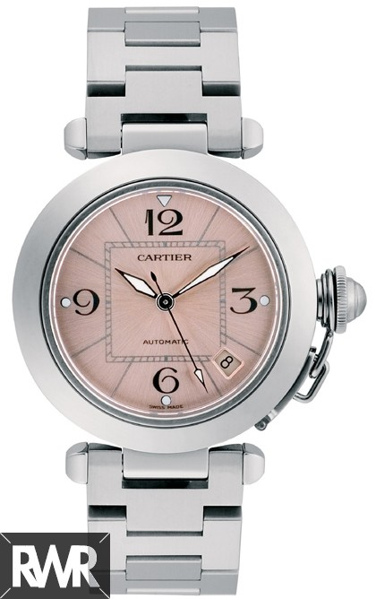 Replica Cartier Pasha C Automatic Stainless Steel Pink Dial Ladies Watch W31075M7