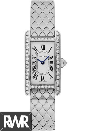 fake Cartier Tank Americaine Silver Dial White Gold Bracelet Ladies Watch WB710009