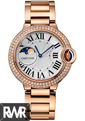 Cheap AAA Replica Cartier Ballon Bleu Moonphase 37mm Pink Gold Ladies WJBB0025