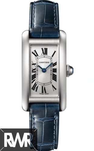 Cheap AAA Replica Cartier Tank Americaine Silver Dial Navy Leather Ladies WSTA0016