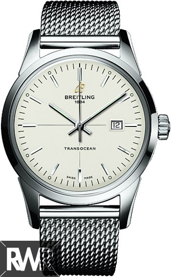 Breitling Transocean Mercury Silver Dial Automatic Stainless Steel Mens Watch A1036012/G721