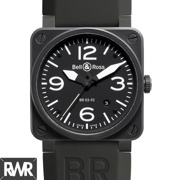 Replica Bell & Ross Aviation Auto 46MM Men Watch BR 03-92 Carbon