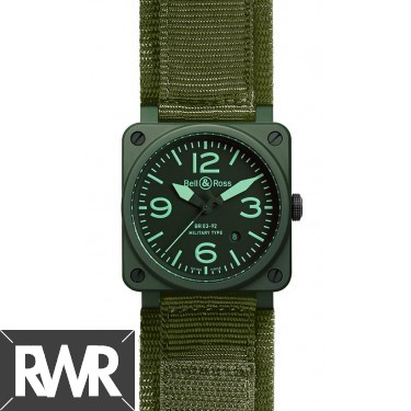 Replica Bell & Ross Aviation BR 03-92 Military Ceramic 42MM  Watch
