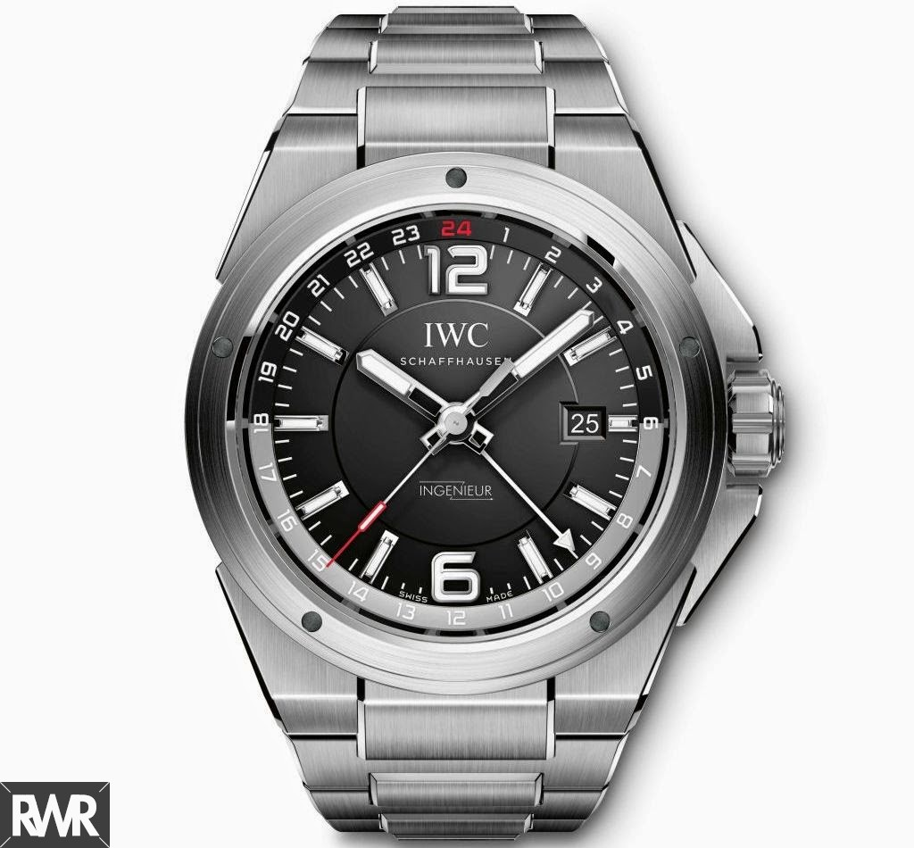 Replica IWC Ingenieur Dual Time Watch Black Dial IW324402