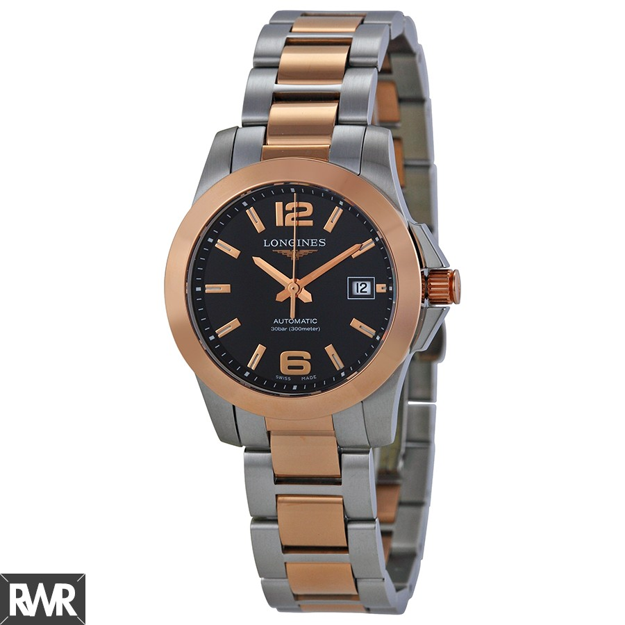 Longines Conquest Black Dial Steel and Rose Gold Automatic Ladies Watch L3.276.5.56.7 Replica
