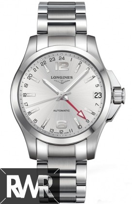 Longines Conquest Mens Silver Dial GMT Automatic Watch L3.687.4.76.6 Replica