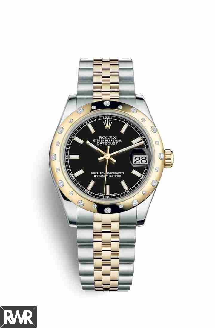 fake Rolex Datejust 31 Yellow Rolesor Oystersteel 18 ct yellow gold 178343 Black Dial Watch