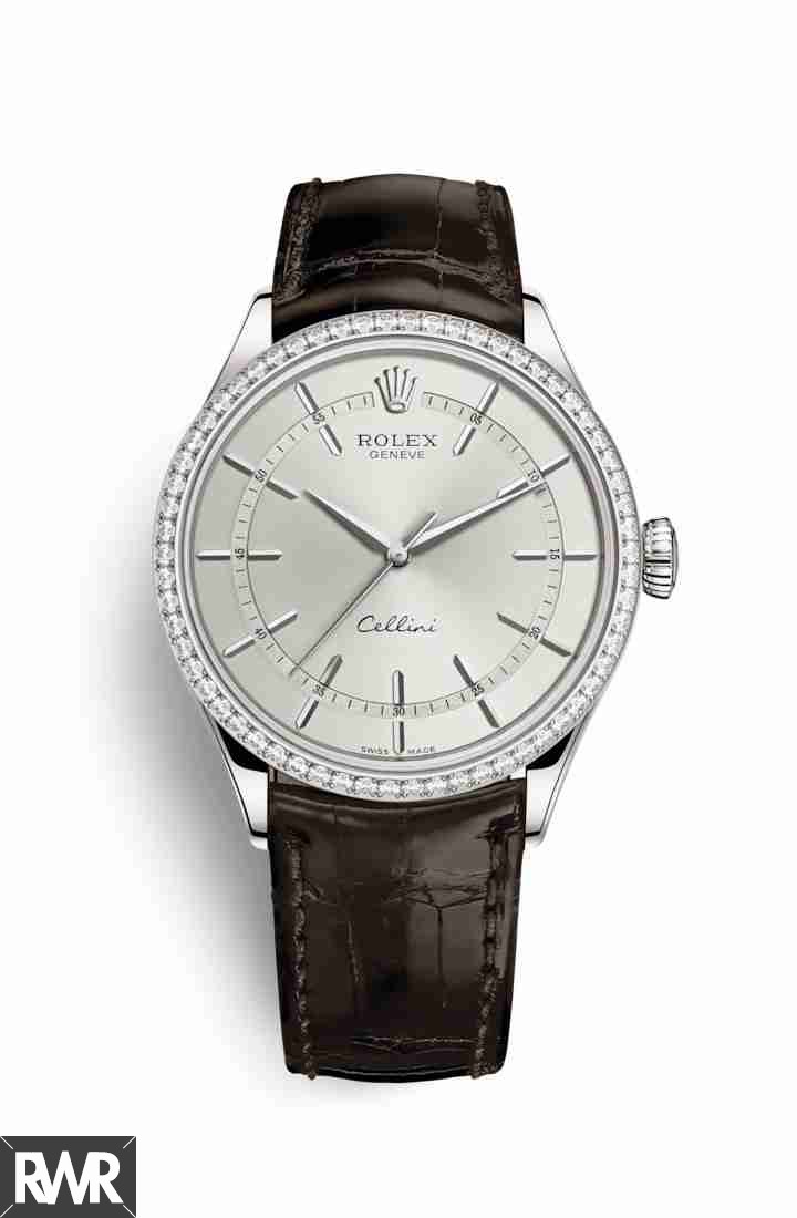 fake Rolex Cellini Time 18ct white gold 50709RBR Rhodium Dial Watch
