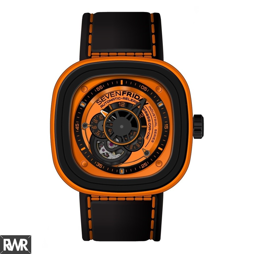 Replica SevenFriday P1-3 Stainless Steel / PVD / Orange