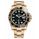 Replica Rolex GMT Master II Yellow Gold Black Dial watch 116718 BK